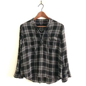 Madewell Plaid Button Down Flannel Shirt Lace Up